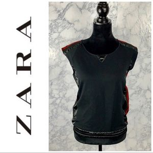 Zara TRF • Mesh/Satin Trim Top Sz M